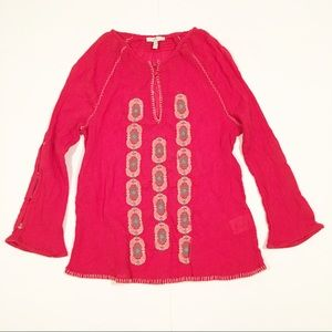 Joie red silk long sleeve blouse small boho chic